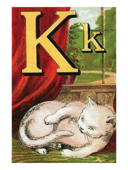 K For the Kitten That Plays With Its Tail-Edmund Evans-Art Print