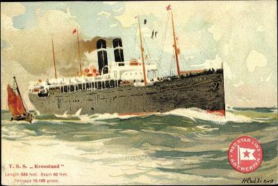 K?nstler T.S.S. Kroonland, Red Star Line--Giclee Print