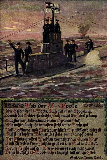 K?nstler U Boot Mit Soldaten Auf Hoher See, Gedicht--Giclee Print