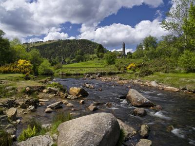 Ireland, Glendalough Monastery, View from Glendasan River, Wicklow Mountains