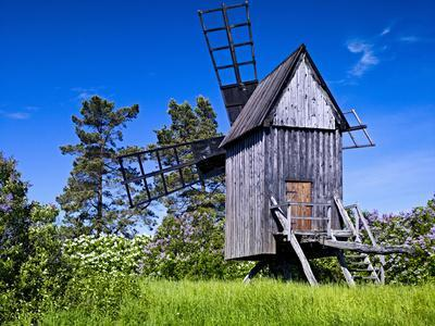 Sweden, Smaland, Oland, Traditional Windmill in Vickleby