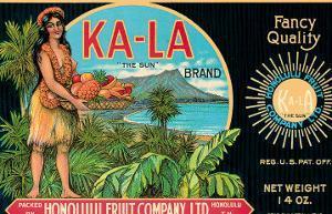 Ka-La The Sun Brand, Pineapple Label, Honolulu Fruit Company, c.1940