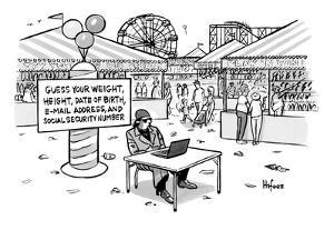 A sketchy-looking man sits at a table in a carnival with a sign behind tha? - New Yorker Cartoon by Kaamran Hafeez