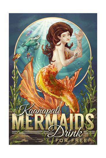 Kaanapali, Hawaii - Mermaids Drink for Free-Lantern Press-Art Print
