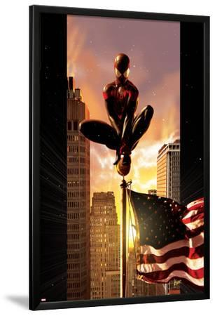 Ultimate Comics Spider-Man No.7 Cover: Spider-Man Sitting on Top of a Flag Pole in the City