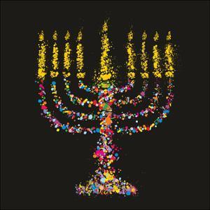 Grunge Stylized Colorful Chanukiah (Menorah) on Black Background - Holiday Vector Illustration by kaetana
