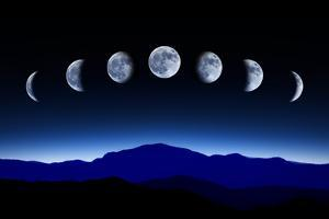 Moon Lunar Cycle in Night Sky, Time-Lapse Concept by Kagenmi