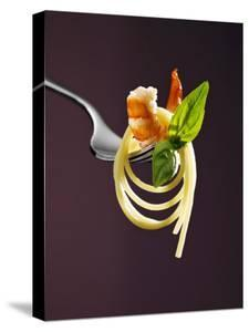 Spaghetti with Shrimp and Basil on a Fork by Kai Stiepel