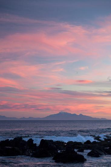 Kaikoura Ranges in South Island at Sunset from Wellington, North Island, New Zealand, Pacific- Nick-Photographic Print