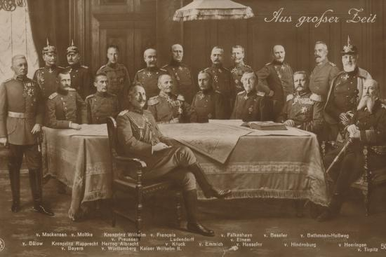 Kaiser Wilhelm II with His War Council, 1914--Photographic Print