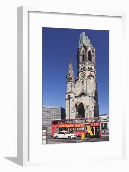 Kaiser Wilhelm Memorial Church and Sightseeing Bus at the Kurfurstendamm, Berlin, Germany-Markus Lange-Framed Photographic Print