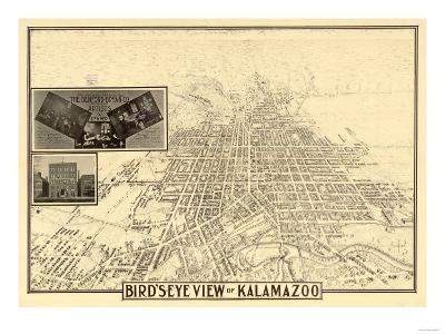 Kalamazoo, Michigan - Panoramic Map-Lantern Press-Art Print