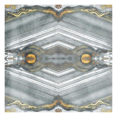 Kaleidoscope Gold And Grey-Jace Grey-Art Print