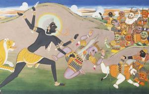 Kali Slaying Demons. Illustration to the Markanddeya Purana. Jaipur, c.1800-1820