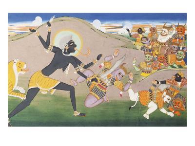 Kali Slaying Demons. Illustration to the Markanddeya Purana. Jaipur, c.1800-1820--Giclee Print