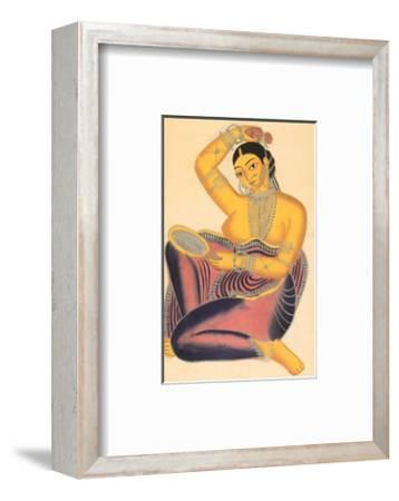 Kalighat Courtesan with Mirror Putting a Rose in Her Hair--Framed Art Print