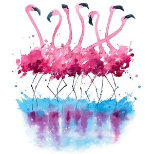 Flamingos Watercolor Painting by Kamieshkova