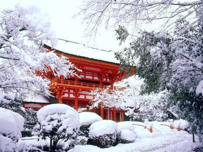 Kamigamo Shrine in Snow, Kyoto, Japan--Photographic Print