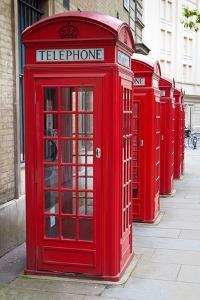 A Group of Typical Red London Phone Cabins by Kamira