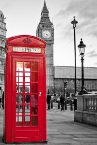 A Traditional Red Phone Booth In London With The Big Ben In A Black And White Background by Kamira
