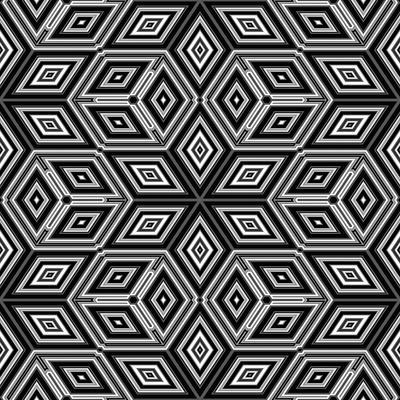 Black And White 3D Cubes Illustration - Escher Style