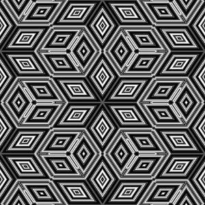 Black And White 3D Cubes Illustration - Escher Style by Kamira