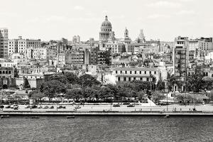 Black and White Panorama of Old Havana with Some Famous Buildings including the Capitol and the Bay by Kamira