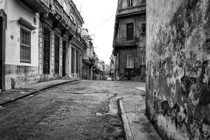 Gritty Black And White Image Of An Old Street In Havana by Kamira