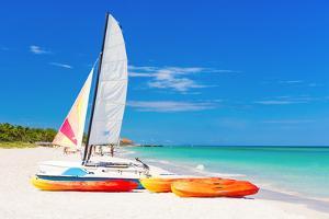 Sailing Boat (Catamaran) and Kayaks at Varadero Beach in Cuba by Kamira