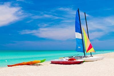 Sailing Boats, Catamarans, Kayaks and Water Bikes in the Beautiful Cuban Beach of Varadero by Kamira