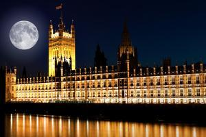 The Houses of Parliament at Night with a Bright Full Moon by Kamira