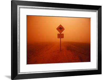 Kangaroo Crossing Sign in Dust Storm in the Australian Outback-Paul Souders-Framed Photographic Print