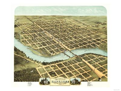 Kankakee, Illinois - Panoramic Map-Lantern Press-Art Print
