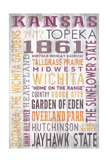 Kansas - Barnwood Typography-Lantern Press-Art Print