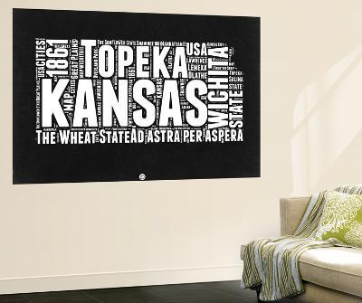 Kansas Black and White Map-NaxArt-Wall Mural