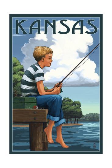 Kansas - Boy Fishing-Lantern Press-Art Print