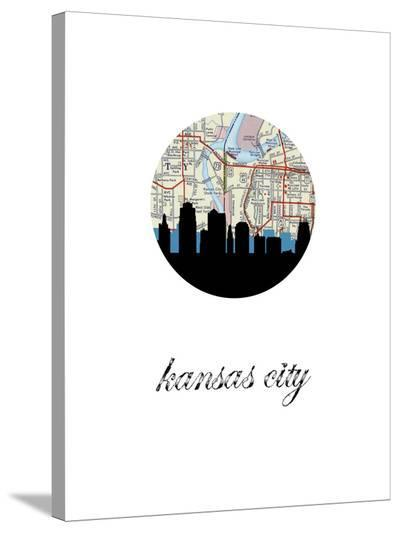 Kansas City Map Skyline-Paperfinch 0-Stretched Canvas Print