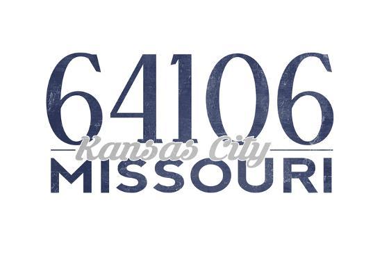 Kansas City, Missouri - 64106 Zip Code (Blue)-Lantern Press-Art Print