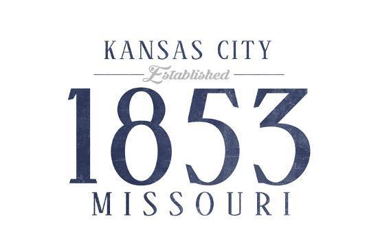 Kansas City, Missouri - Established Date (Blue)-Lantern Press-Art Print