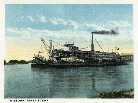 Kansas City, Missouri - View of a Steamer on the Missouri River-Lantern Press-Art Print
