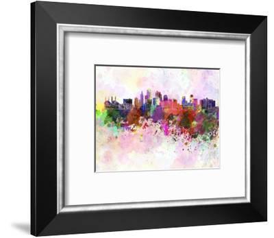 Kansas City Skyline in Watercolor Background-paulrommer-Framed Art Print