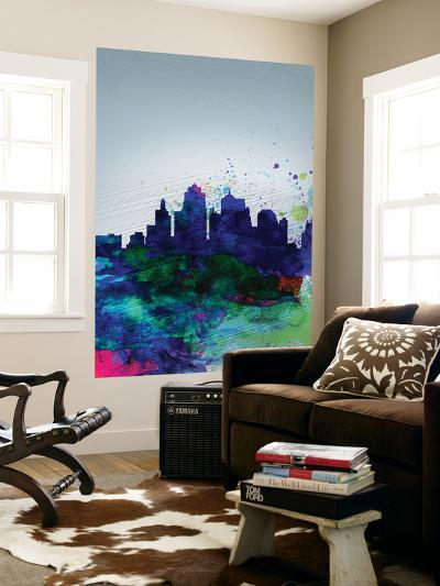 Kansas City Watercolor Skyline-NaxArt-Wall Mural