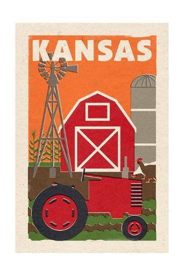 Kansas - Country - Woodblock-Lantern Press-Art Print