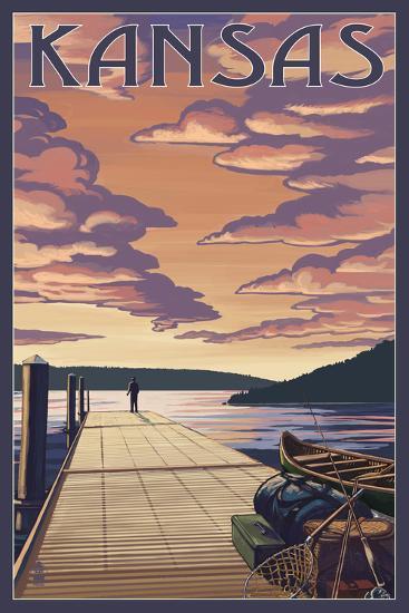 Kansas - Dock Scene and Lake-Lantern Press-Art Print