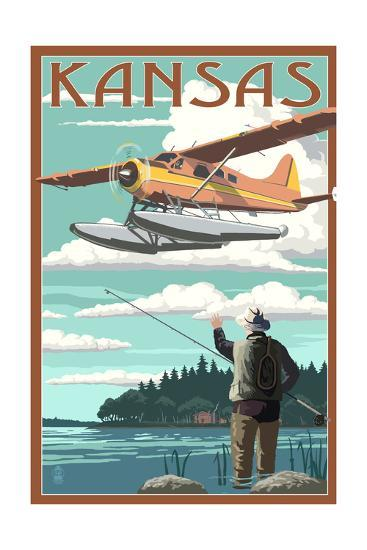 Kansas - Float Plane and Fisherman-Lantern Press-Art Print
