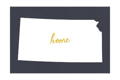 Kansas - Home State- White on Gray-Lantern Press-Art Print