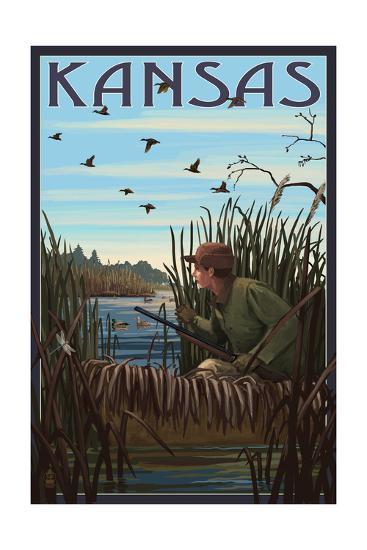 Kansas - Hunter and Lake-Lantern Press-Art Print