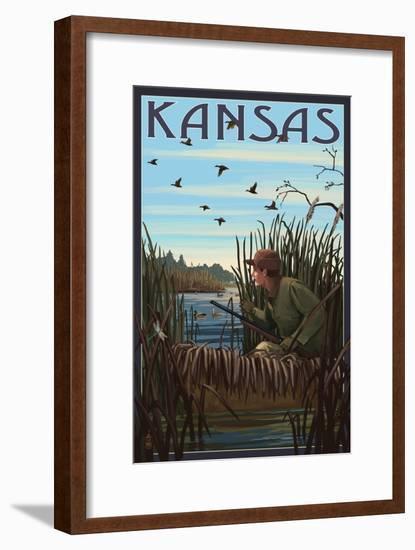 Kansas - Hunter and Lake-Lantern Press-Framed Art Print