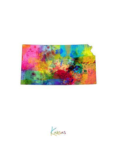 Kansas Map-Michael Tompsett-Art Print