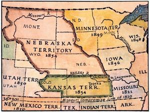 Kansas-Nebraska Map, 1854